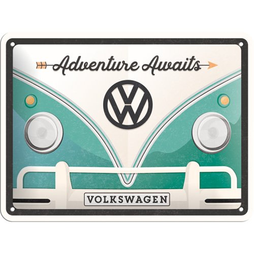 Nostalgic-Art 26222, VW Bulli Adventure Awaits, Blechschild 15x20 cm, Metall, Bunt, 15 x 20 x 0.2 cm