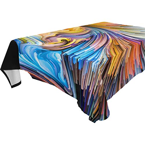 LUCKYEAH Abstract Watercolor Art Indian Man Table Cloth Washable Square Table Cover Polyester Tablecloths Rectangular for Indoor Patio Kitchen Picnic Outdoor, 54x54inch