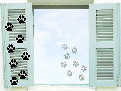Fenstertattoo selbstklebende ~ Hundepfoten Pfotenaufkleber ~ glas059 Aufkleber für Fenster, Glastür und Duschtür, Badezimmer Glasdekor Fensterbild, wasserfeste Glasdekorfolie in Sandstrahl - Milchglas Optik (8 Stück Pfoten je 6 cm)