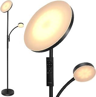 Lampadaire sur Pied LED Réglable, 2 en 1 Lampe Métal à Pied avec Liseuse, Lampadaire Moderne 3000K-6000K avec Contrôle Tac...