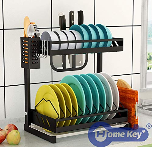 Dish Drying Rack Kitchen Drainer, 2 Tier Stainless Steel Shelf for Counter Organization and Storage, With Drain Board, Utensil Holder and Cutting Board Holder, Compact Design, Large Capacity.