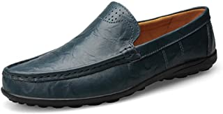 ZiWen Lu Men's Business Casual Genuine Leather Penny Loafers Formal Dress Wedding Shoes Breathable Anti-Slip Flat Round Toe Slip-on (Color : Blue, Size : 5 UK)
