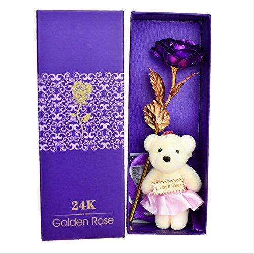 Rosepoem Rosa 24 K chapado en oro rosa flor con caja de regalo mejor regalo para el día de San Valentín Día de la madre Navidad cumpleaños