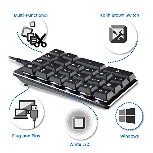 Perixx PERIPAD-303B, Backlit Mechanical Numeric Keypad - USB - Office Shortcut Keys - Full Size 22 Keys - Kailh Brown Switch Keys