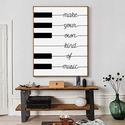 LPHMMD Decoratieve schilderijen Maak je eigen soort muziek Black White Poster Design canvas Art Print Kwekerij Foto's op de muur Family Home