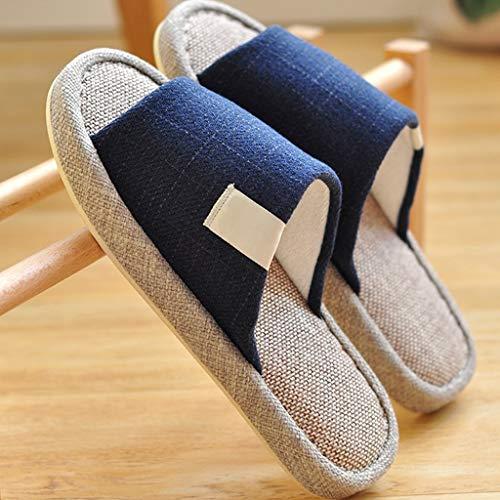 Zapatillas Mullidas el país de interior suave ropa de otoño e invierno zapatillas de lino casero fondo grueso inferior verano de algodón de los hombres se preocupan cuatro estaciones Zapatillas de Est
