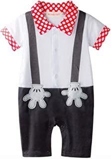 9141fc987e02 Baby Boy Mickey Mouse Onesie Costume Smart Tuxedo Romper Outfit Pageboy  White