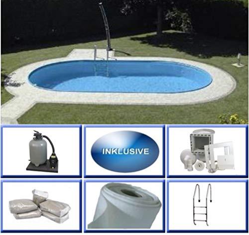 Summer Fun Stahlwandbecken Set Rhodos Exklusiv oval 3,50m x 7,00m x 1,50m Folie 0,6mm Super Komplettset Pool Ovalpool / 350 x 700 x 150 cm Stahlwandpool