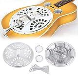 Dobro Piezas de Guitarra Set ,Guitarra Guitar Spider Bridge Puente Guitarra Dobro Pieza de Cola Tailpiece Conos de Resonador Metal Boca de Sonido para Pieza de Repuesto de Guitarra de Resonador Dobro