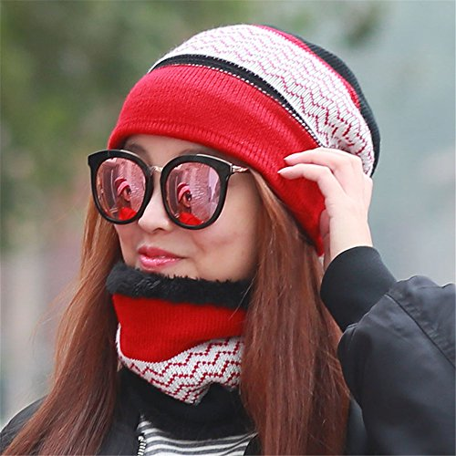 SAIBANGZI Vriendin vriend Warm hoed, winter breien trui, outdoor Baotou sjaal, twee sets van jeugd winddichte fiets cap
