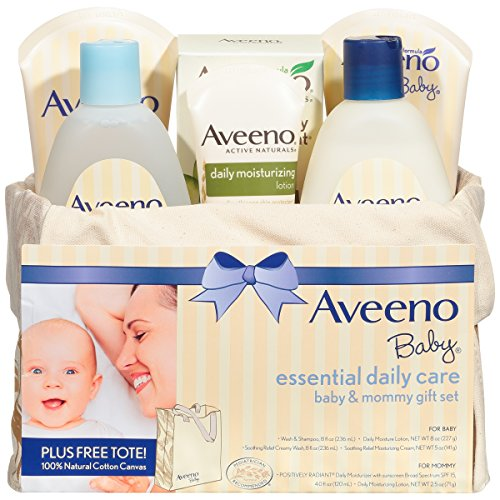 Aveeno Baby Essential Daily Care Baby & Mommy Gift Set, 6 items & bonus canvas tote