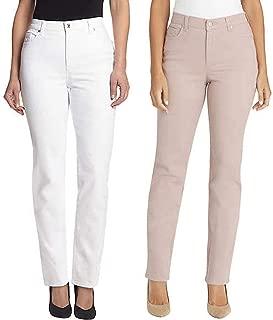 Gloria Vanderbilt Ladies' 2 Pack Bundle Amanda Jeans, Crystal White & Wood Rose (12 Average)