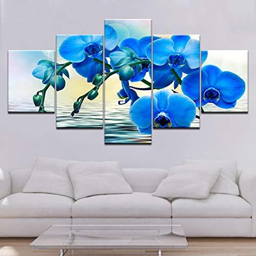 WJDJT Leinwanddrucke,Moderne Hauptdekoration Malerei 5 Stück Blaue Orchidee Poster Modular Kunstwerk Bild Für Wohnzimmer Wanddekoration (Kein Rahmen)