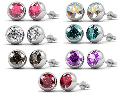 Luxus-Swarovski Kristall Ohrstecker-Set mit 7 Paaren, 18K Weißgold überzogene Ohrringe mit Kristall aus SWAROVSKI - In Geschenkbox (rundes Modell)