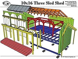 Step-By-Step DIY Plans - Timber Frame Post and Beam 10x16 Three Sled Shed - Backyard Storage Shed with Three Sliding Barn Doors - Step-By-Step DIY Plans (10x16)