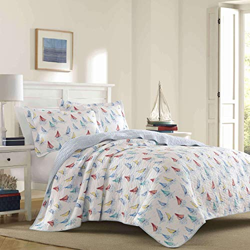 Laura Ashley Home | Ahoy Bedding Collection | Luxury Premium Ultra Soft Quilt Coverlet, Comfortable 3 Piece Set, All Season Stylish Bedspread, Twin, Bright