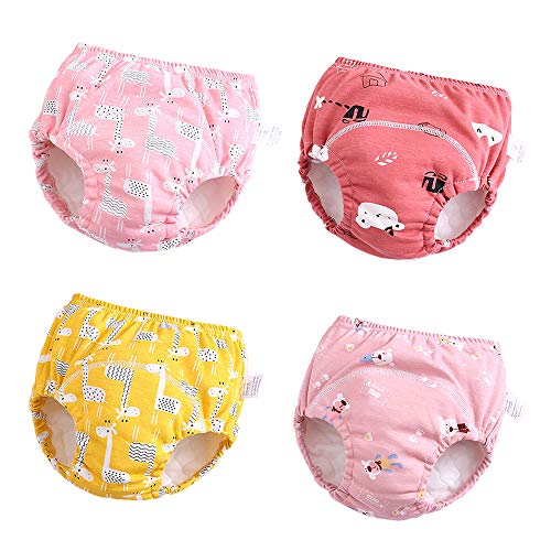U0U Baby Girls' 4 Pack Cotton Training Pants Toddler Potty Training Underwear for Boys and Girls 12M-4T (Girls, 4T) Pink