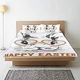 CVSANALA Bedding Juego de Funda de Edredón,Conejo de Pascua con Gafas Imprimir,Microfibra SIN LLENAR,(Cama 140x200 + Almohada)