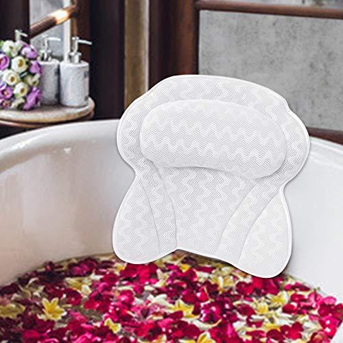 TWBEST Badewannenkissen,Badewanne & Spa-Kissen mit 6 Saugnäpfen,Badekissen Ergonomisches Design,Nacken und Rücken gestützt Werden,geeignet für Privathaushalte,Spas,heiße Quellen und andere Orte