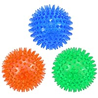 PREMIUM MATERIAL & SAFE: This training and interactive toy is made of food grade, non-toxic,soft TPR (BPA free), make it hard to be broken and spikes buffer on the surface of the ball prevent your puppies from choke.Keep your pet safe during playing....