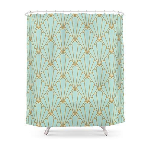 qhtqtt Duschvorhang Art Deco Serie Mintgrün Matte Polyestergewebe Badezimmer Dekoration Wasserdichter Druck Duschvorhänge 180X180Cm A