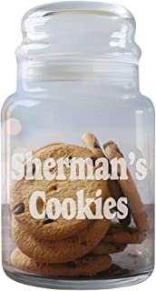 Engraved Any Message Glass Cookie Jar, Holds 31 oz, Dishwasher Safe