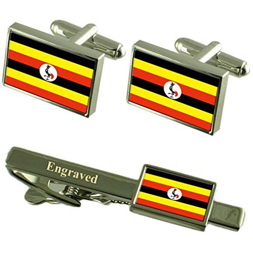 Select Gifts Uganda Fahne Manschettenknöpfe gravierte Krawattenklammer passende Box Set