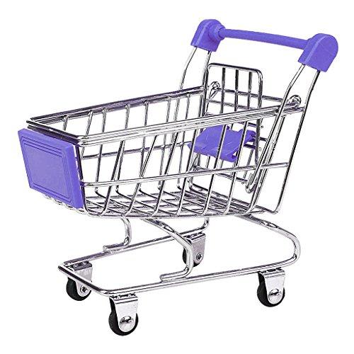 Blesiya Mini Supermarkt Schubkarre Einkaufswagen Einkaufskorb Spielzeug für Kinder Kaufladen Rollenspiel - Lila