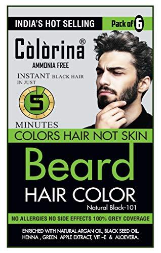 Colorina Men's Beard Color, Natural Black 101 (10ml X 6 Sachet) | Ammonia Free | Colors Hair not Skin | Instant Beard Color in Just 5 Minutes