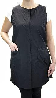 Long Snap Stylist Vest Barber Salon Wear with Custom Name Embroidery by Charlene (L, BLACK)