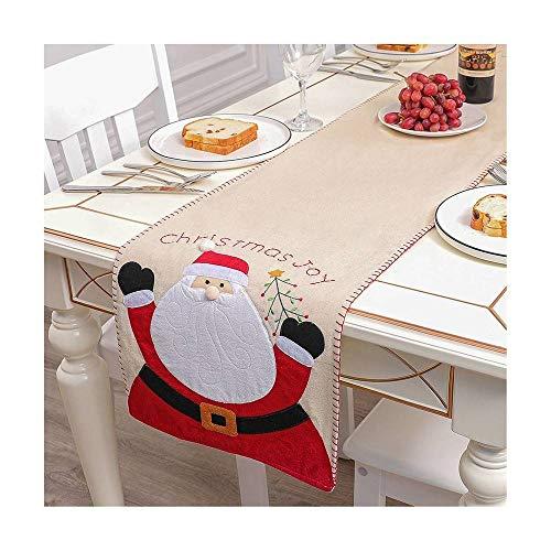 CUIZC Camino de mesa con diseño de Papá Noel, de lino, 35 x 178 cm