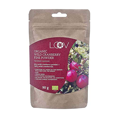 Wild Cranberry Powder Organic, Made from 100% Whole Organic Cranberry Fruit, Freeze Dried and Powdered Cranberries, Raw, 18-Day Supply, 90 g, no Added Sugar