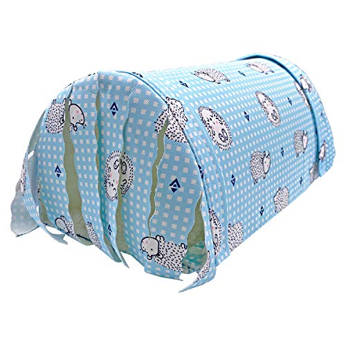 Handmade Small Animal Tunnel Cave Hideout Nest with Fleece Forest Hidey Curtain for Baby Chinchillas/Mice/Gerbil Rats/Chinchilla/Squirrel/Guinea Pigs/Hedgehog/Dwarf Rabbit (Blue with Thick Fleece)
