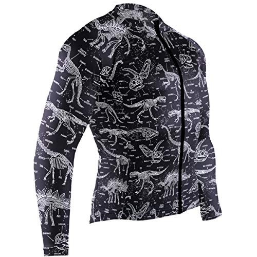 SLHFPX Dinosaur Bones Mens Cycling Jersey Top Long Sleeve Road Cycle Clothes Outfit