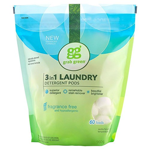 Grab Green Natural 3 in 1 Laundry Detergent Pods, Free & Clear/Unscented, 60 Loads, Fragrance Free, Organic Enzyme-Powered, Plant & Mineral-Based, 34 Ounce