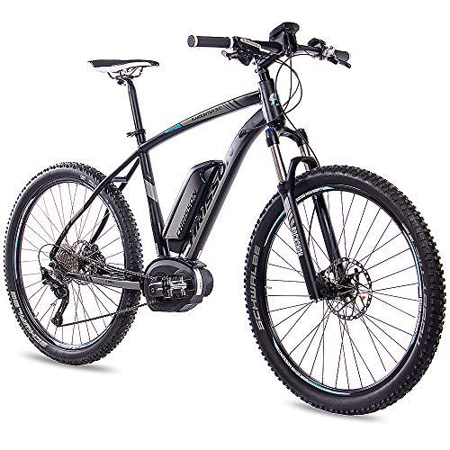 CHRISSON 27,5 Zoll E-Bike Mountainbike Bosch - E-Mounter 3.0 schwarz - Elektrofahrrad, Pedelec für Damen und Herren - Bosch Motor Performance Line CX 250W, 75Nm - Intuvia Computer