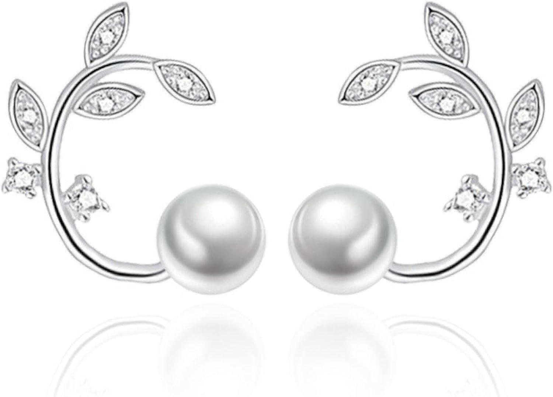 Fresh Flower Pearl Earrings Simple Branch Ear Jewelry Ladies Temperament FashionOlEarrings