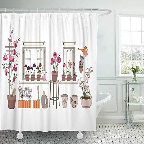 N\A Dekorativer Duschvorhang Blumentöpfe mit Kräutern & Gemüse Gartengeräte Pflanzen, die auf Fensterbänken wachsen wasserdichte, schimmelresistente Badhaken-Gardinen