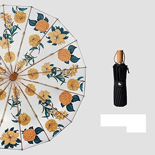Faltschirm Kompakter Reiseschirm Langlebiger Regenschirm Tragbarer Regenschirm, 16-Knochen-Faltregen- und Sonnen Schutzschirm