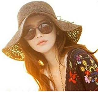 Vadeytfl Visors Cap,Foldable Wide Brim Sun Hat Sun Visor Summer Beach Straw Hat (Color : Brown)