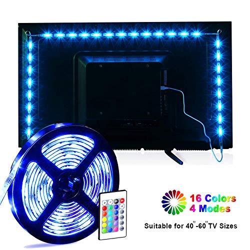 Striscia LED, MILIER USB LED TV Retroilluminazione Kit, Luci LED Nastro 2m per 40-60 pollici TV 16 Colori SMD 5050 LED Illuminazione Ambiente (IR)