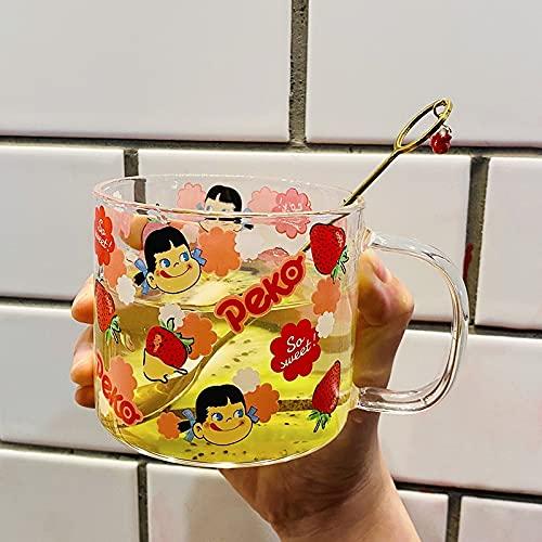 PPuujia Vaso simple y adorable leche sonriente hermana de vidrio de dibujos animados taza de desayuno taza niña corazón fresa bebida taza a prueba de calor (color : taza y cuchara)
