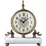 Tischuhren Mute Wohnzimmer Kaminuhr, Haushalt Metall Marmor Tischuhr, Studie Arabische Ziffer Uhr, Heimtextilien (Color : Weiß, Size : 23 * 10 * 27cm)
