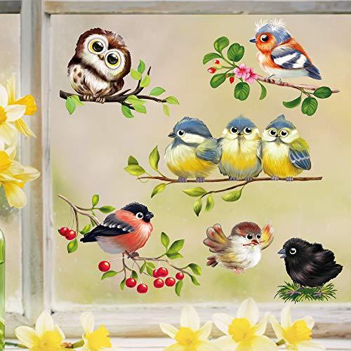 Wandtattoo Loft Fensterbild Frühling Ostern Vogel Set frühlingshafte Fensterdeko – Wiederverwendbare Vögel Fensteraufkleber / 1. DIN A4
