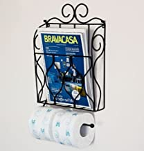 DanDiBo Kranten- en toiletpapierhouder, zwart, toiletrolhouder, krantenrek, wandrek