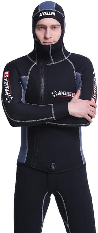Men's 5mm Neoprene Wetsuit with hat Split Hooded Diving Suit SCR Warm Sun Snorkeling Swimwear 2 Sets
