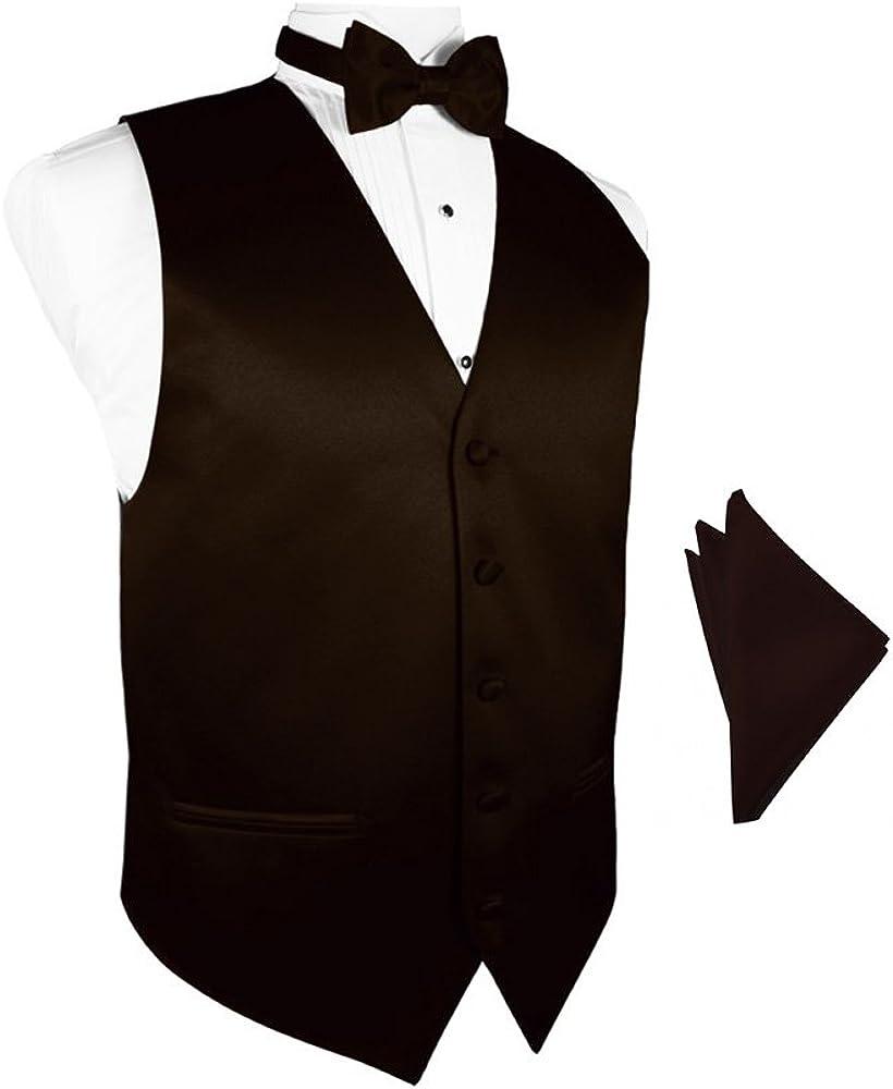 Truffle Satin Tuxedo Vest with Bowtie & Pocket Square Set