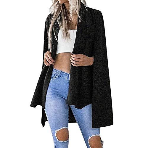 Abbigliamento Casual da Caldo Invernale Donna Manica Lunga Cappotto Mode di Marca Confortevole Tinta Unita Giacca Elegante Spolverino Cappotto Giacca Moda 2019 (Color : Schwarz, Size : Eu-38/Cn-S)