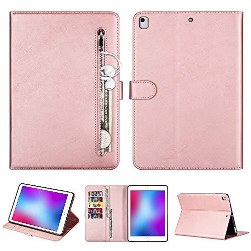 TechCode Funda para iPad Air 2, Premium Funda de Piel sintética Tipo Folio con Soporte para Tarjetas Funda Smart Wallet con Bolsillo Frontal para 9,7 Pulgadas iPad Air/ Air2/5th/ 6th Gen, Oro Rosa