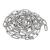 Sourcingmap - Cadena de acero inoxidable 304 a prueba de endurecimiento (2 m de longitud, 3 mm de grosor), chapado en zinc